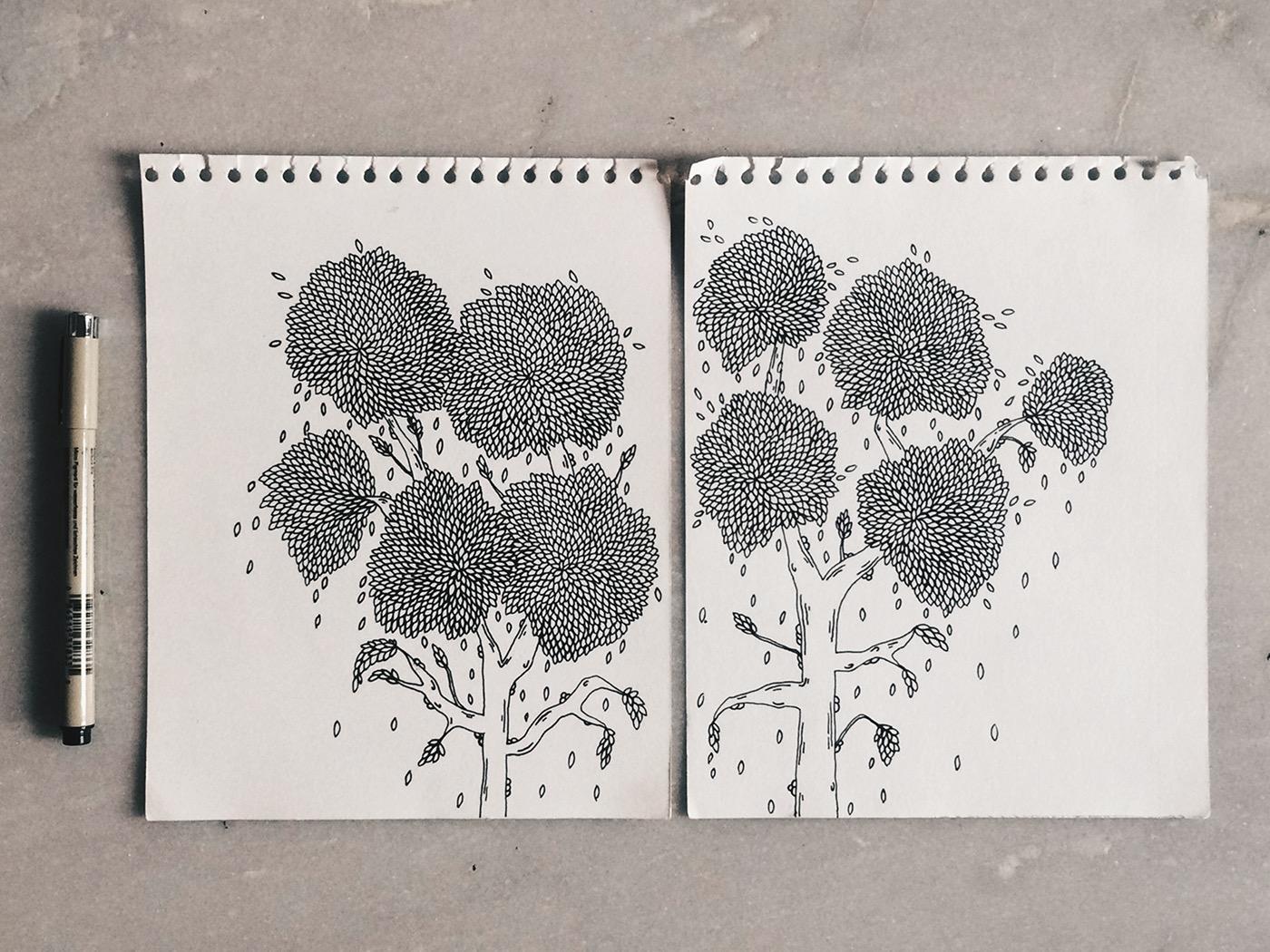 treewear | initial illustration on paper | maitri dalicha